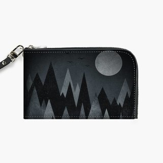 Snupped Isotope - Phone Pouch - Dark Mystery Abstract Geometric Triangle Peak Wood's (black & white)