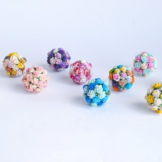 Paper Flower, Decoration, 10 pieces Kissing ball supplies in blue, pink, yellow, peach, rainbow and purple color.