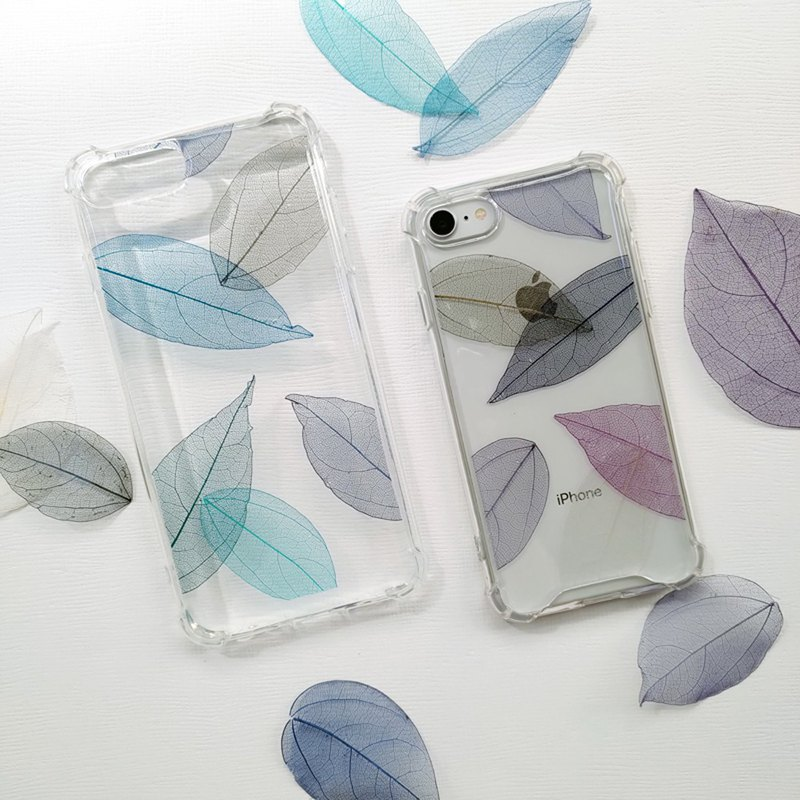 Leaf Color Interwoven (Blue Series) Embossed Phone Case Leaf Vein Shatterproof Case Iphone 12
