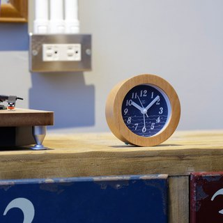 Billow- thick solid wood wave mute clock alarm clock (blue)