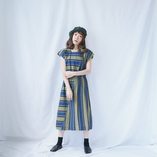 II Ancient II Japanese II Blue Green Yellow Mixed Color Stripe Patchwork Vintage Dress II