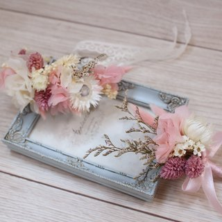 Flover Fu Lai Design Dream Pink Hydrangea Wrist Flower + Corsage Group Dry Bouquet Dry Flower