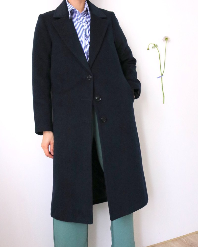 Slate Coat fitted dark blue wool-breasted coat (other colors can also be customized)