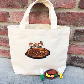 Steak の daily canvas bag (lunch bag) double cup beverage bag hand-printed Canvas bag