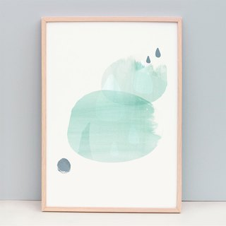 Fine Art Print Soothing Green Abstract Art - Raindrops (Unframed)