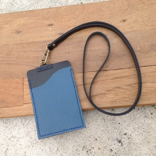 Straight identification card. Documents folder, travel card sets, card sets, back, hand-stitched, leather [then leather litchi blue + black