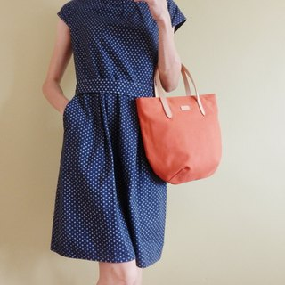 Terracotta Orange Petite Canvas Tote Bag with Leather Strap for her - Casual Bag