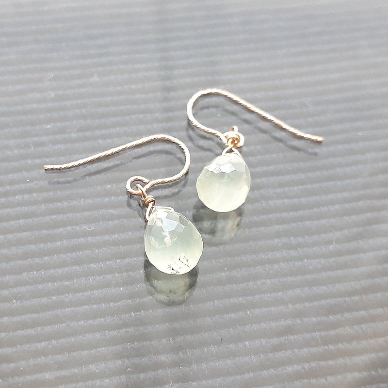 14KGF Prehnite Water Drop Faced Earrings (for Pan Xinyi)
