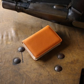 日本製造 牛皮 名片夾 名片盒 橘红 Weinheimer made in JAPAN handmade leather card case