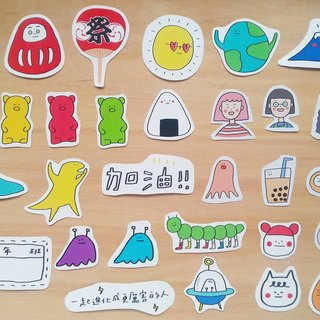 Big stickers, 10 sheets / hand drawn