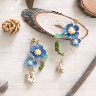 Aramore Autumn Forest Series Blue Flowers, Squirrels and Pine Cones Earrings