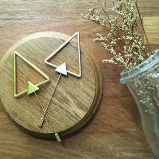 Double Triangle - Gold & Rose Gold Lapel Pin/Brooch