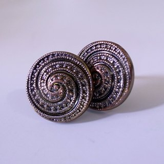 Bronze swirl pin earrings