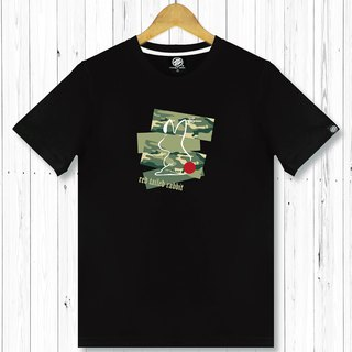 STATELYWORK Camouflage Red Tail Rabbit Male Short T Mens Black