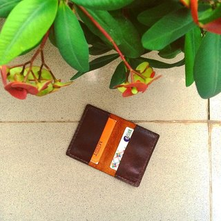 Simple wallet for business card color dark brown