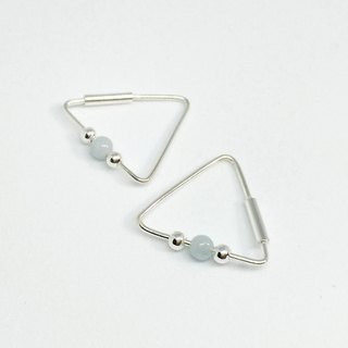 S Lee-925 silver hand made triangle natural sea blue ear ear \ earrings