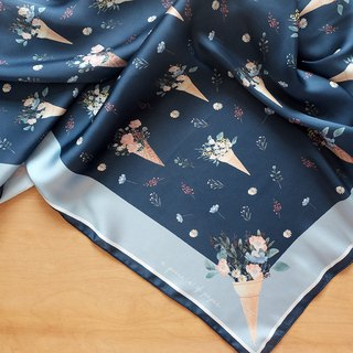 SCARF : Flower Cones (Blue)