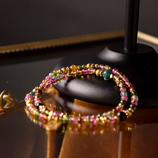 <Slow temperature natural stone>C1242 tourmaline brass double ring bracelet // Happy Carnival