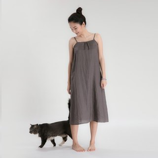 BUFU ramie tank dress in brown D170204