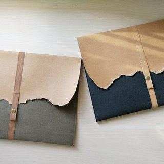 Washed kraft paper + felt [tearing] simple computer bag / notebook set can be customized size
