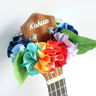 ribbon lei for ukulele,rainbowflower b, ukulele strap,ukulele accessories,hawaii