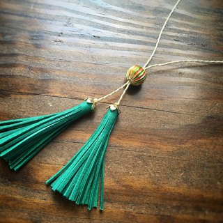 Vintage brass beads and French goat leather tassels Lariette