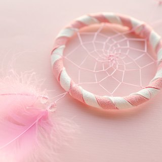 Dream Catcher Material Pack 8cm (with instructional film) - Pink + White (two-tone) - Handmade Gifts