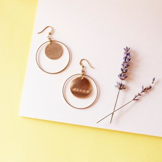 Exaggerated. Circle Ring Brass Earrings (single) Customized Hand Knock Letter Sisters Girlfriend Gifts