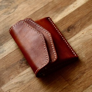 Cans handmade brown Italian leather tanned leather leather wallet wallet 2 card with a small amount of cash