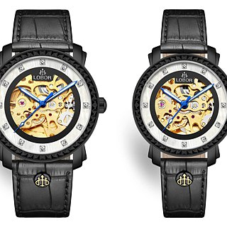 Premier Duddell Pair Japanese mechanical watch movement black case leather strap LOBOR