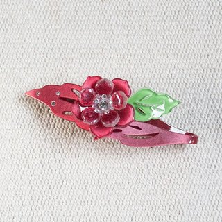 Colorful flower enamel, painted acrylic automatic clips, flat clips, hair clips - red