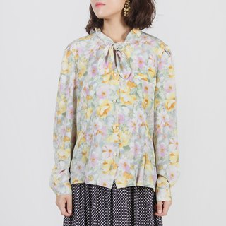 [Egg Plant Vintage] Autumn Flower Yellow Printed Vintage Shirt