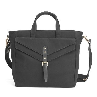 Messenger Bag / Shoulder Bag in Water Resistant Canvas and Leather Black