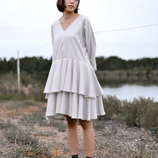 Mani Mina Beige V Neck Quarter Sleeve Dress