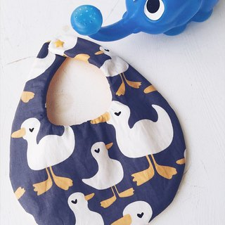Hairmo love goose handmade baby bib / saliva towel-round version (blue-violet)