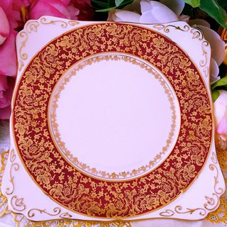 British 1950 Royal Stafford 24 gold hand-painted rose cake plate ~ inventory