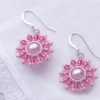 Beaded flower earrings rose pink, spring floral jewelry silver925, gift, 375