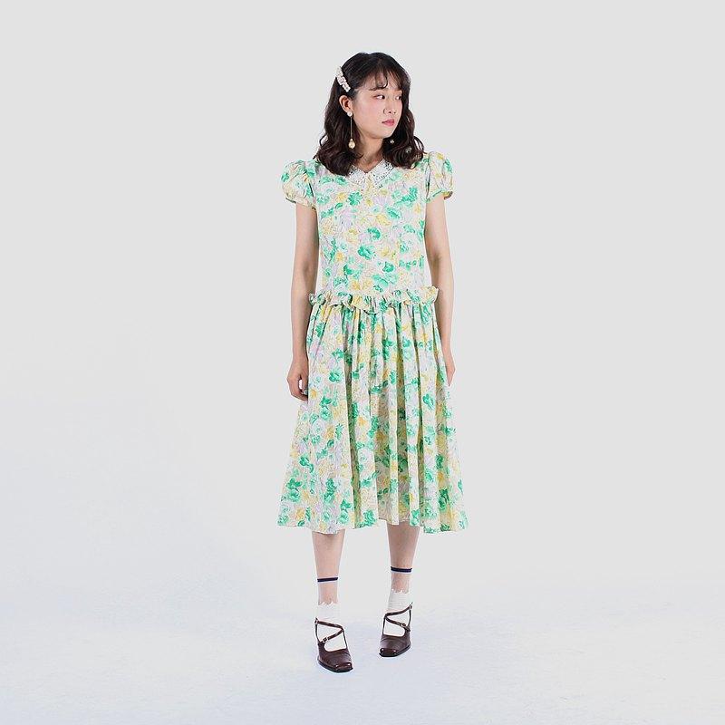 【蛋植物古着】綠野仙蹤棉質短袖古著洋裝