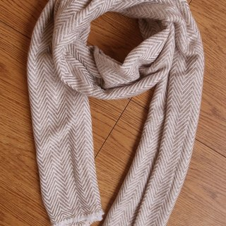 Cashmere Stripes Shawl / Scarf / Stole Handmade from Nepal thick_v_Brown