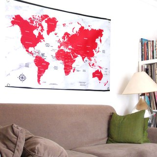 Customized World Map Hanging Wallpapers Red Venice