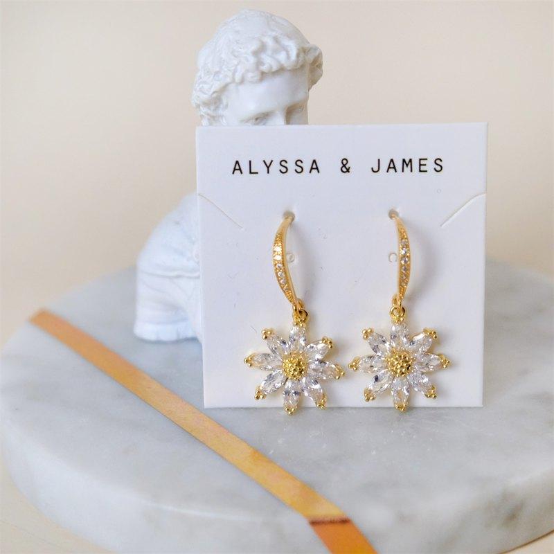 ALYSSA & JAMES 鋯石花耳環