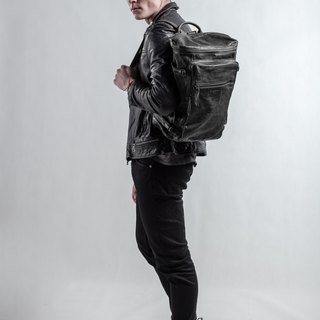 Stanford Utility Leather Backpack | Grey