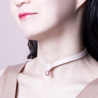 YUNSUO-original design-pink leather and crystal pearl chocker
