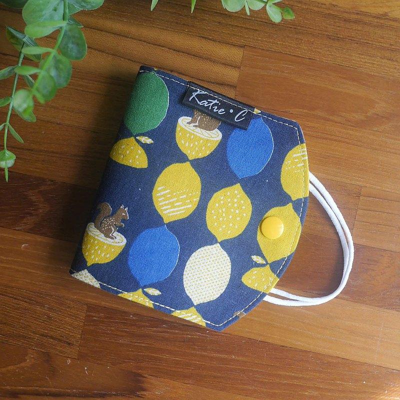 限量訂製款=口罩暫存套/口罩收納套=日本布料=檸檬松鼠=深藍