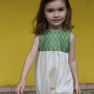 Baby girl party romper - Green and gold cotton outfit