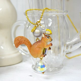 TIMBEE LO Squirrel Holding Crystal Necklace Gold Plated Copper Chain Bead Chain Cute Animal Forest