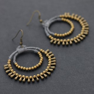 Chandelier Beaded Earrings, Grey Hoop Dangle Drop Earrings, Brass Woven Gypsy Earrings