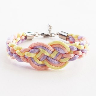 Yellow/Peach/Lilac infinity braided bracelet