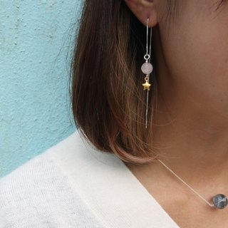 Scattered Pink Chiffon, Gold Plated 925 Sterling Silver Earrings Pink Jelly and Gold plated star - 925 silver earline