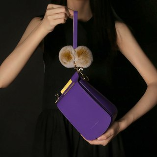Purple leather candy color mobile phone small square bag cross-body bag with side backpack can be loaded with iPhone X